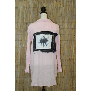 Moose Painting Handmade Long Relaxed Shirt