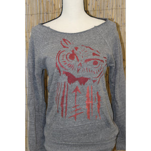 Owl Hand Painted Cut Off Raglan Sweatshirt