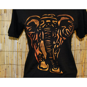 Elephant Hand Painted Bamboo Crew Neck Tee
