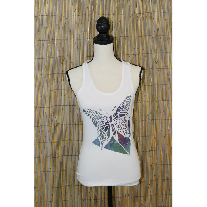 Butterfly Hand Painted Women's White Yoga Tank