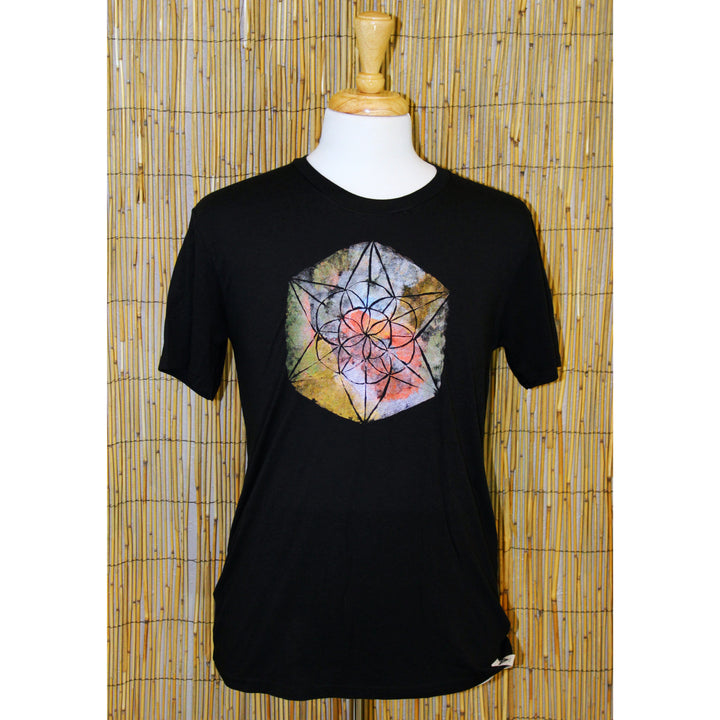 Sacred Geometry Hand Painted Bamboo Crew Neck Tee