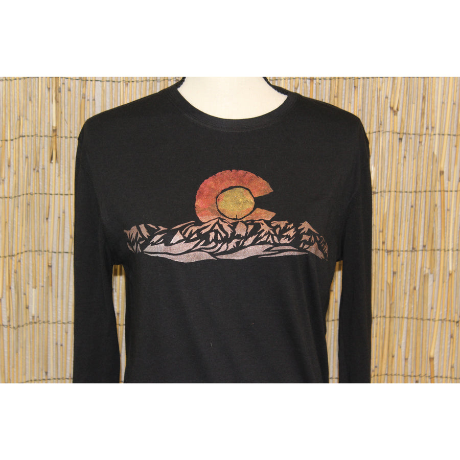 Colorado Mountain Hand Painted Bamboo Long Sleeve