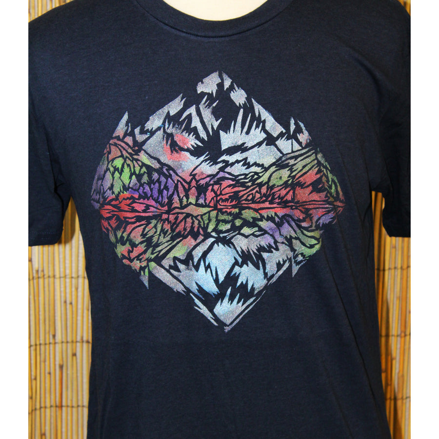 Maroon Bells Hand Painted Blue Bamboo Crew Neck Tee