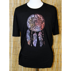 Dreamcatcher Hand Painted Bamboo Black Crew Neck Tee