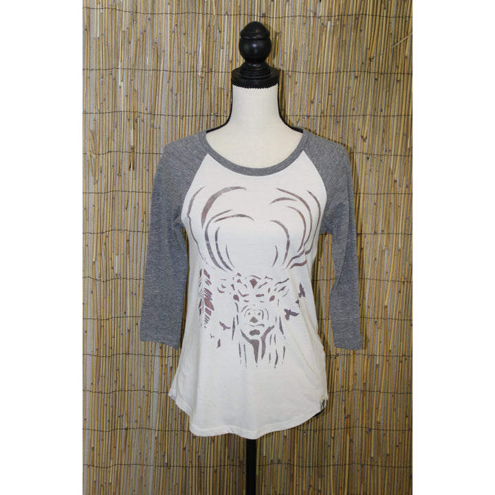 Humble Deer Hand Painted Women's 3/4 Sleeve Baseball Tee