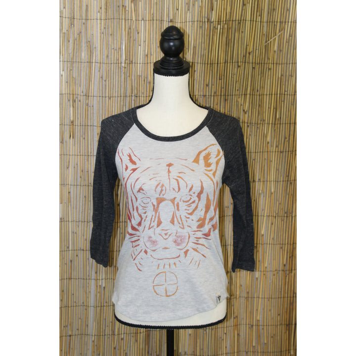 Tiger Hand Painted Women's 3/4 Sleeve Baseball Tee