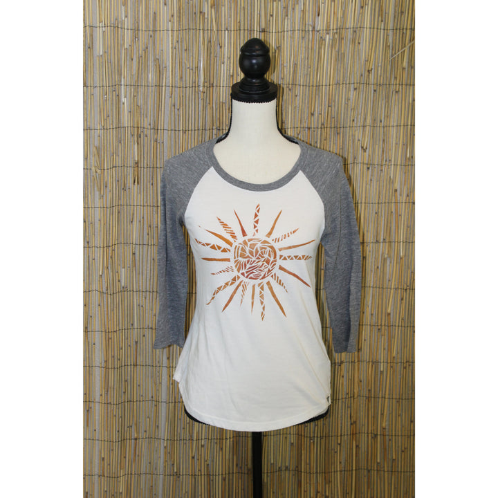 Sun Hand Painted Women's 3/4 Sleeve Baseball Tee