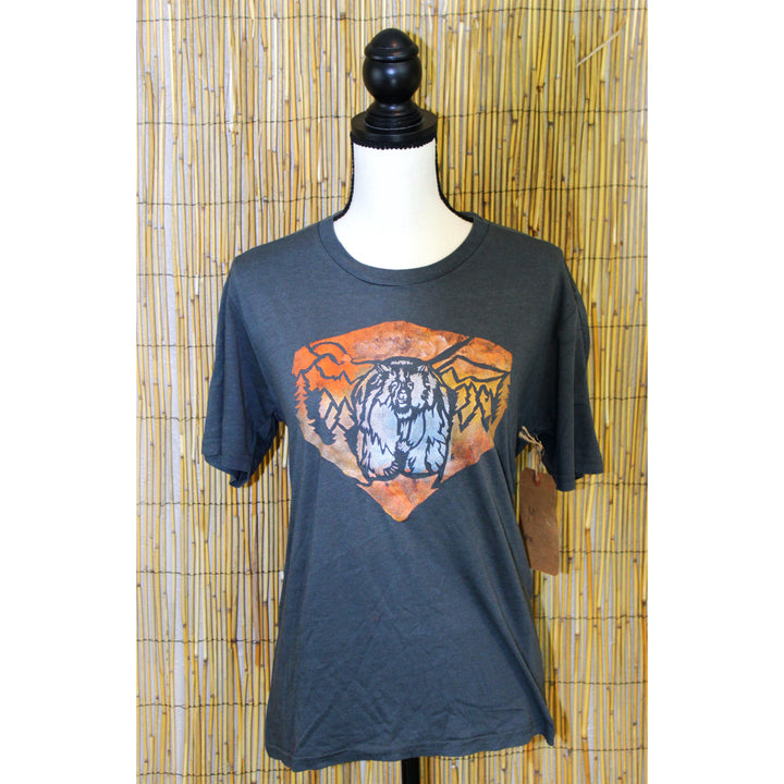 Grizzly Bear Hand Painted Bamboo Crew Neck Tee