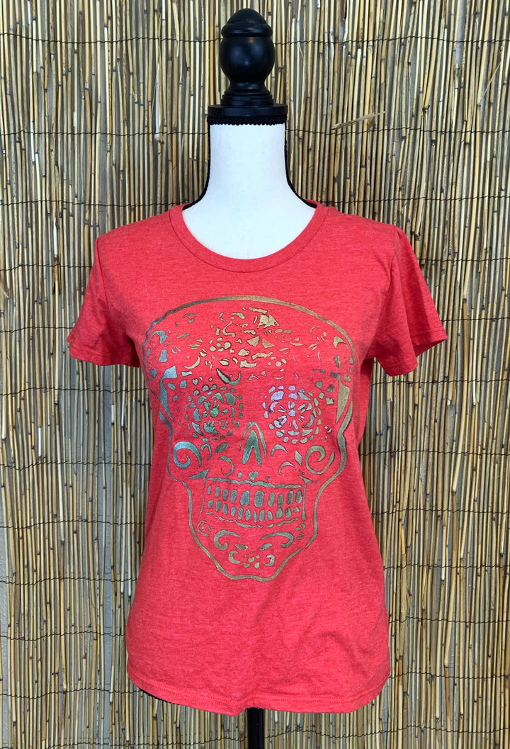 Sugar Skull Hand Painted Women's Organic Fitted Tee