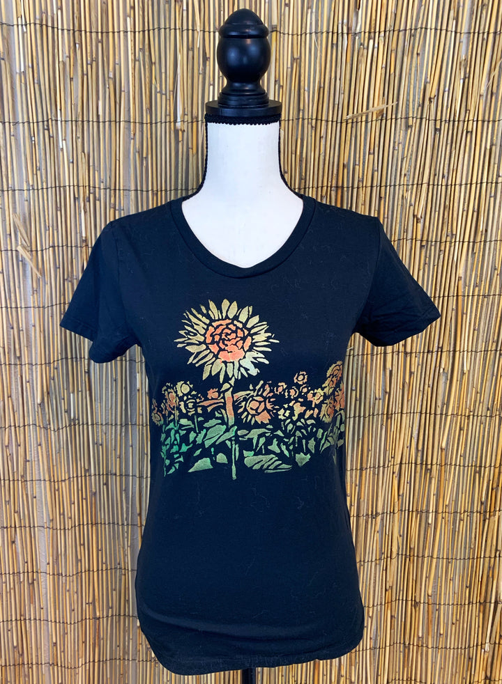 Sunflower Hand Painted Women's Organic Fitted Tee