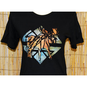Moose Hand Painted Bamboo Black Crew Neck Tee