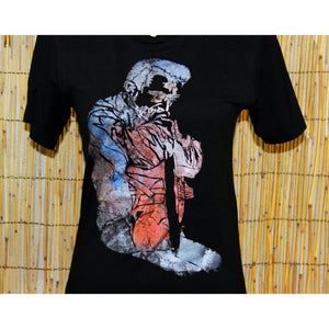Johnny Cash Hand Painted Bamboo Black Crew Neck Tee