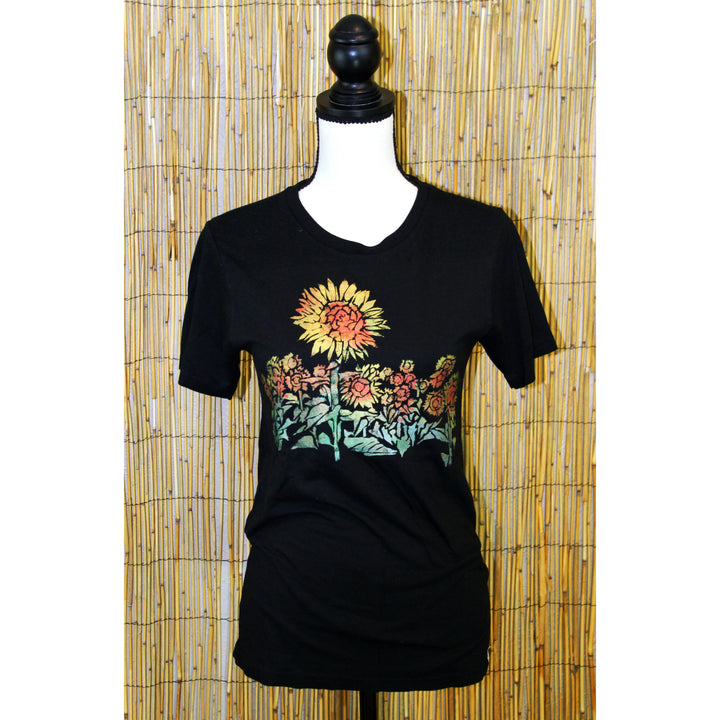 Sunflower Field Hand Painted Bamboo Black Crew Neck Tee