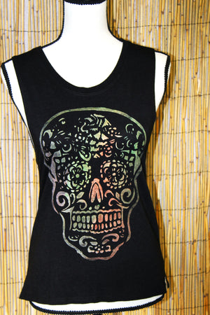 Sugar Skull Hand Painted Women's Muscle Tank