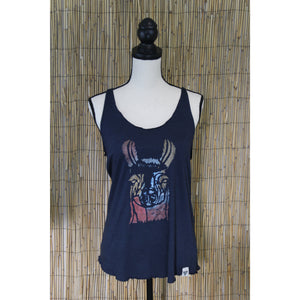 Llama Hand Painted Women's Raw Edge Cut Tank
