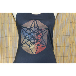 Sacred Geometry Hand Painted Women's Raw Edge Cut Tank