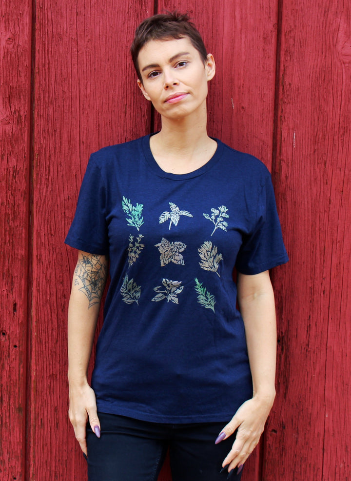 Culinary Herbs Hand Painted Bamboo Crew Neck Tee