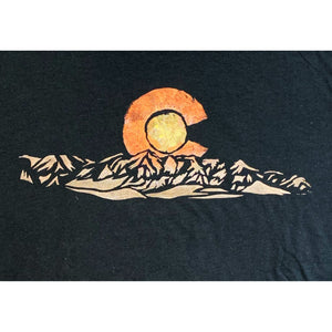 Colorado Mountain Hand Painted Bamboo Crew Neck Tee