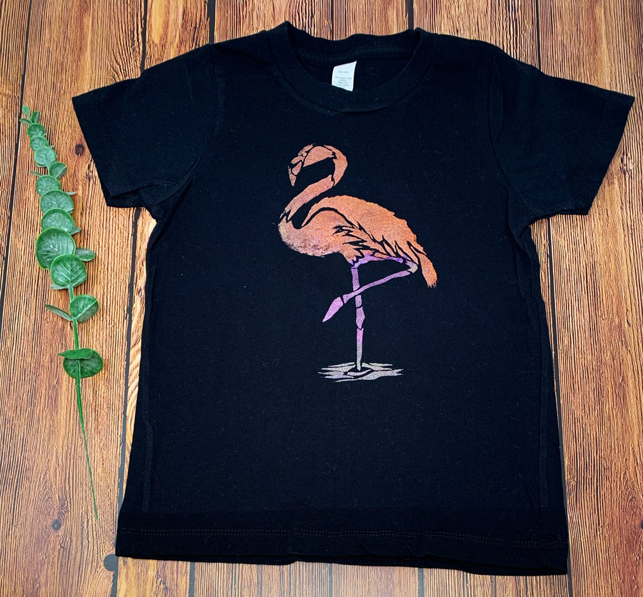 Flamingo Hand Painted Organic Toddler Tees