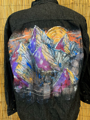 Mountains Hand Painted 1of1 Original Shirt
