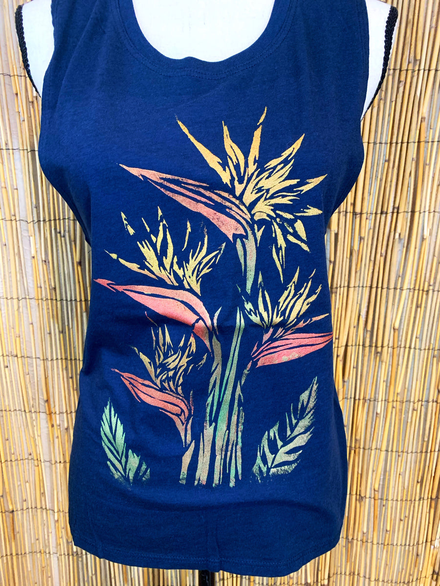 Birds of Paradise Hand Painted Women's Muscle Tank