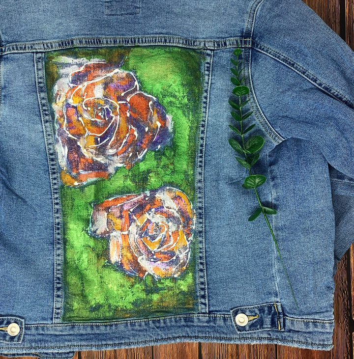 Roses Hand Painted 1of1 Original Women's Fitted Denim Jacket