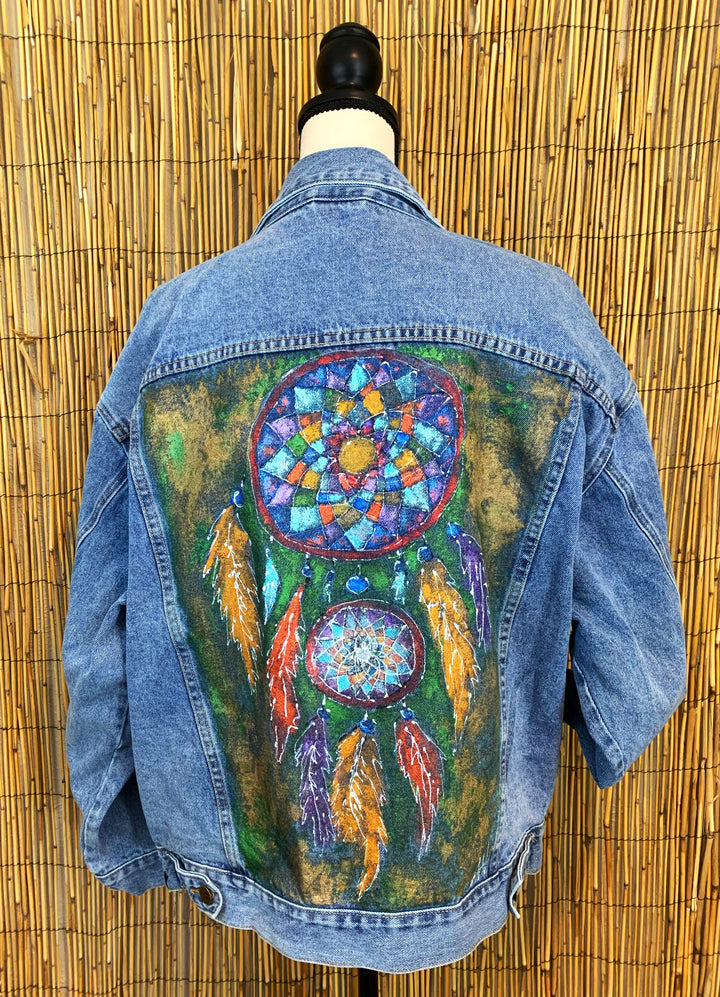 Dream Catcher Hand Painted 1of1 Original Oversized Denim Jacket