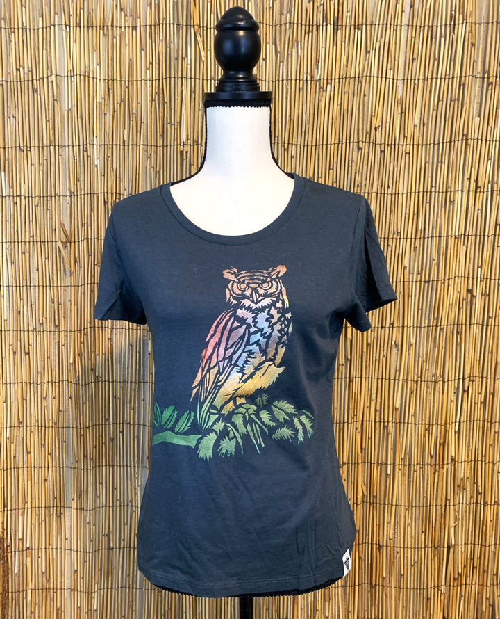 Owl Hand Painted Women's Bamboo Fitted Tee