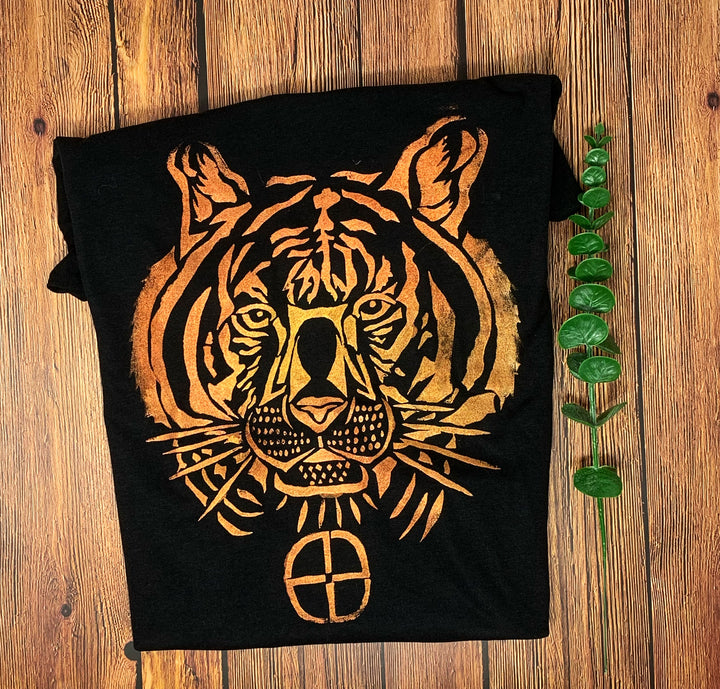 Tiger Hand Painted Women's Bamboo Fitted Tee