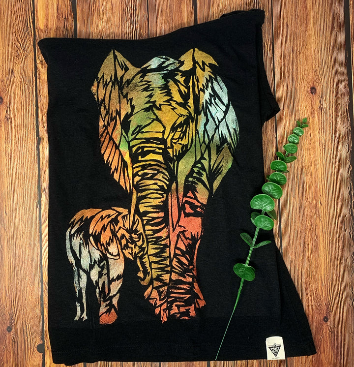 Mama Elephant Hand Painted Women's Bamboo Fitted Tee