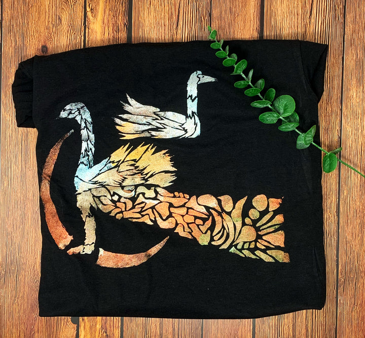 Swans Hand Painted Women's Bamboo Fitted Tee