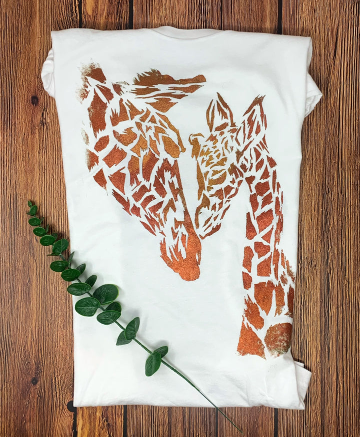 Mama Giraffe Hand Painted Women's Bamboo Fitted Tee