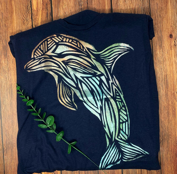 Dolphin Hand Painted Women's Bamboo Fitted Tee