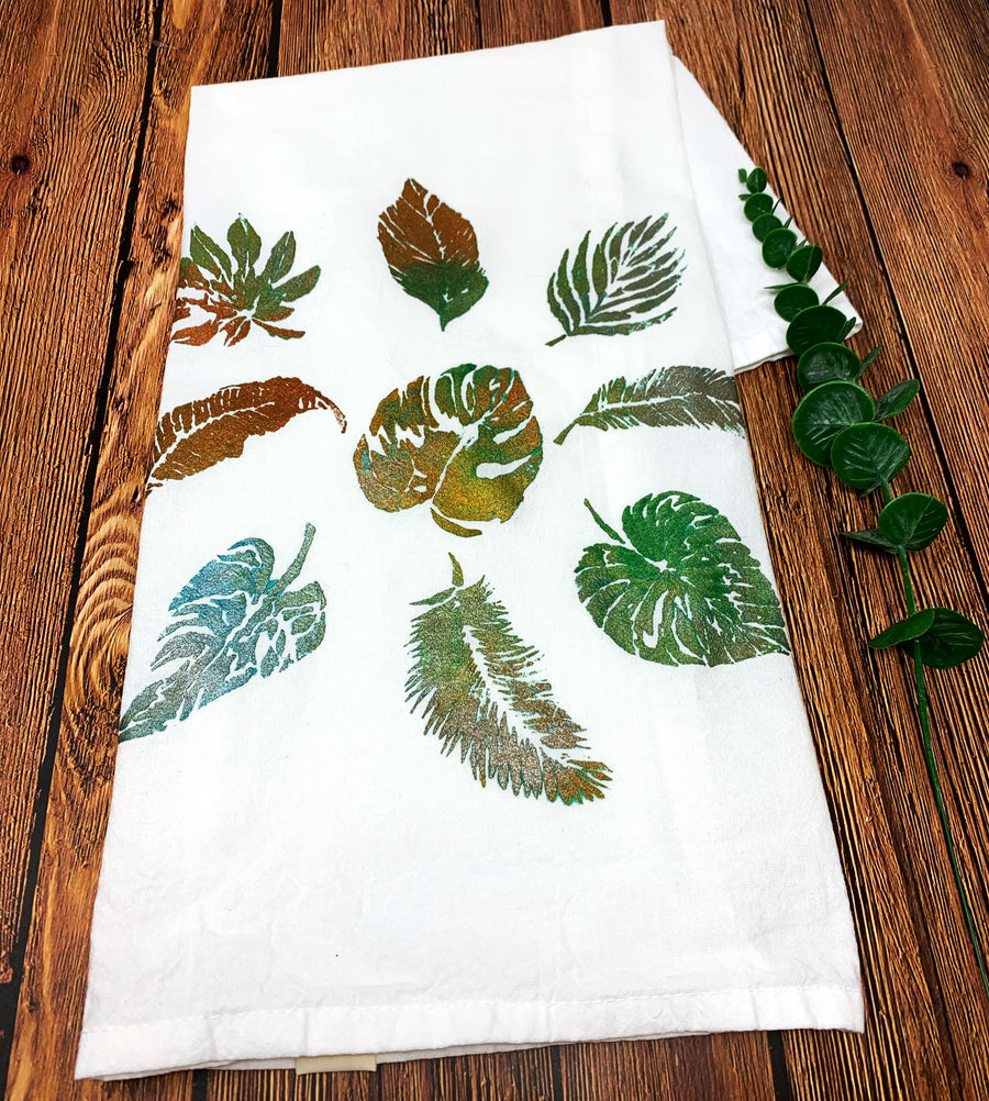 Tropical Leaves Hand Painted Dish Towel