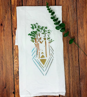 Tri Tree Hand Painted Dish Towel