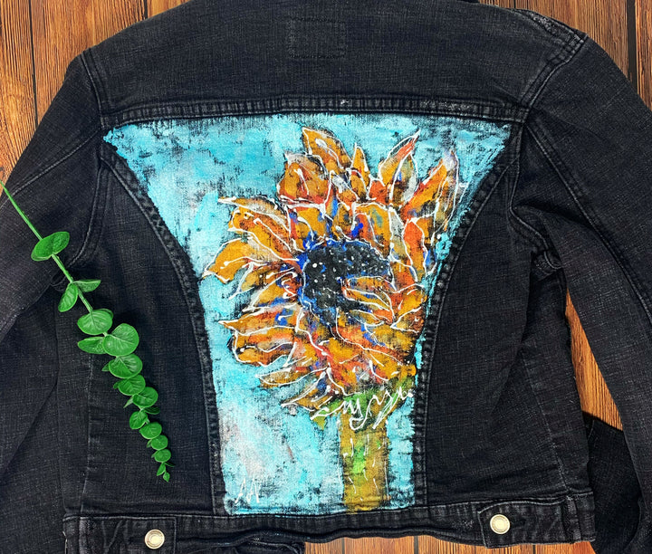 Sunflower Hand Painted 1of1 Original Women's Fitted Denim Jacket