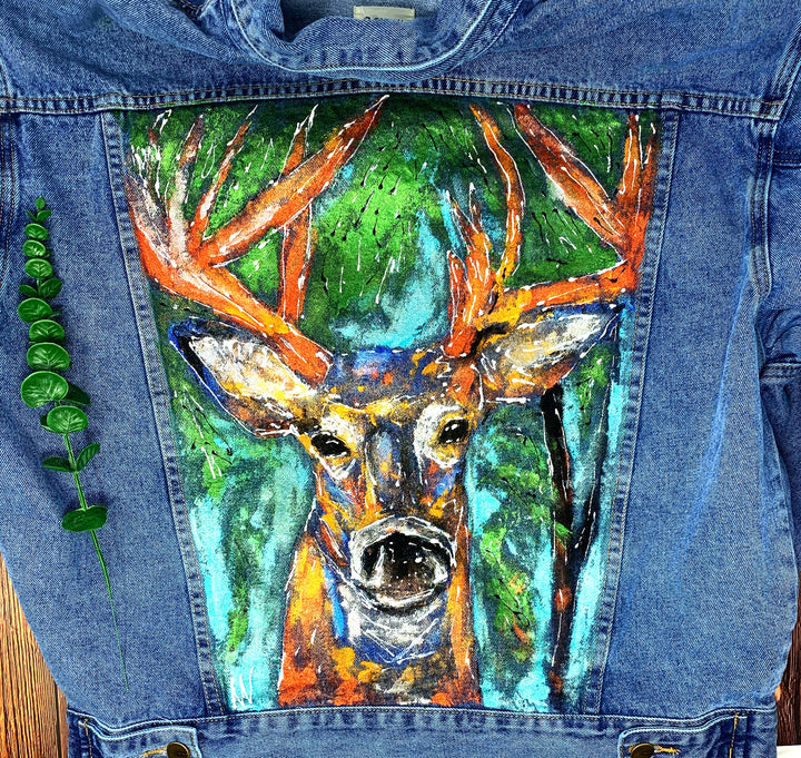 Deer Hand Painted 1of1 Original Oversized Boxy Cut Denim Jacket