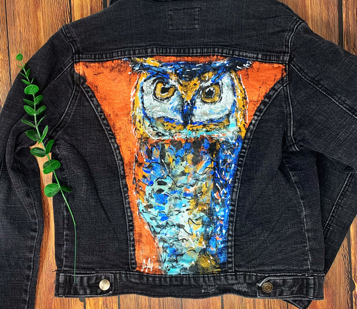 Owl Hand Painted 1of1 Original Women's Fitted Denim Jacket