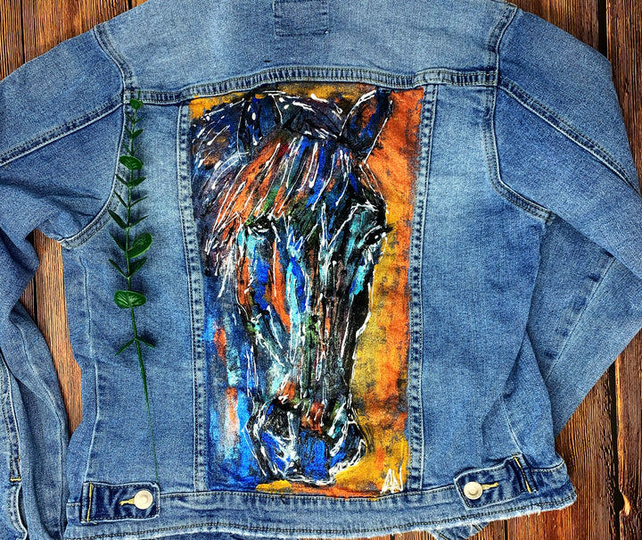 Horse Hand Painted 1of1 Original Women's Fitted Denim Jacket