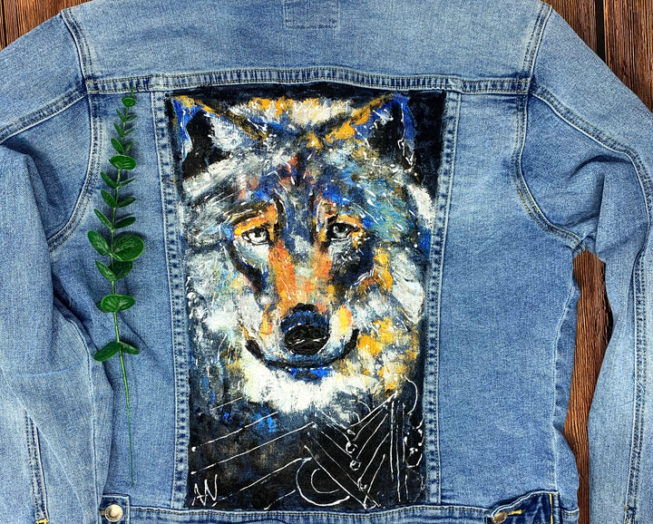 Wolf Hand Painted 1of1 Original Women's Fitted Denim Jacket