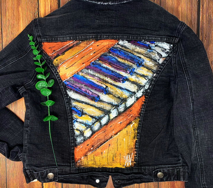 Piano Hand Painted 1of1 Original Women's Fitted Denim Jacket