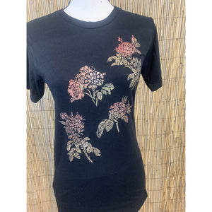 Roses Hand Painted Bamboo Crew Neck Tee