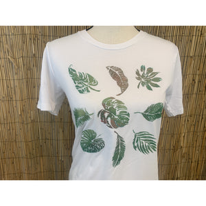 Tropical Leaves Hand Painted Bamboo Crew Neck Tee