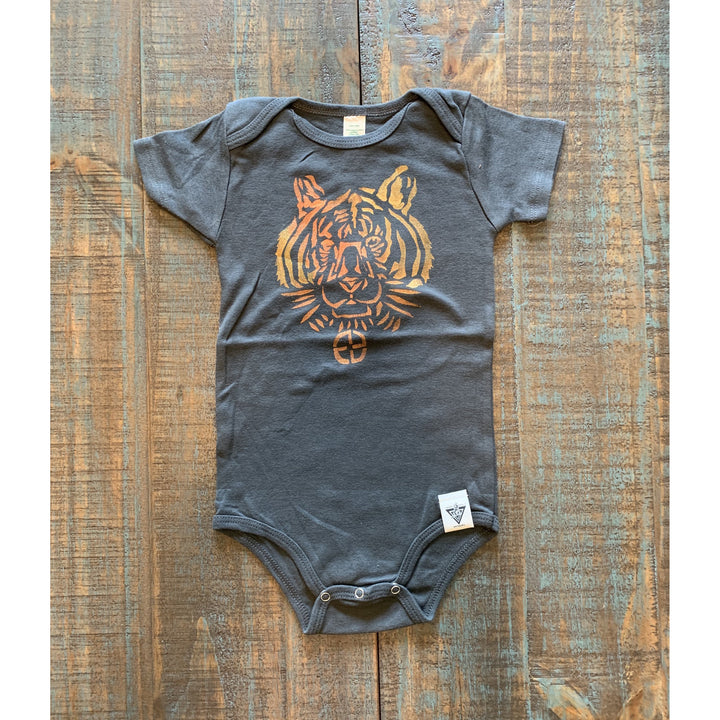 Tiger Hand Painted Organic Baby Onesie
