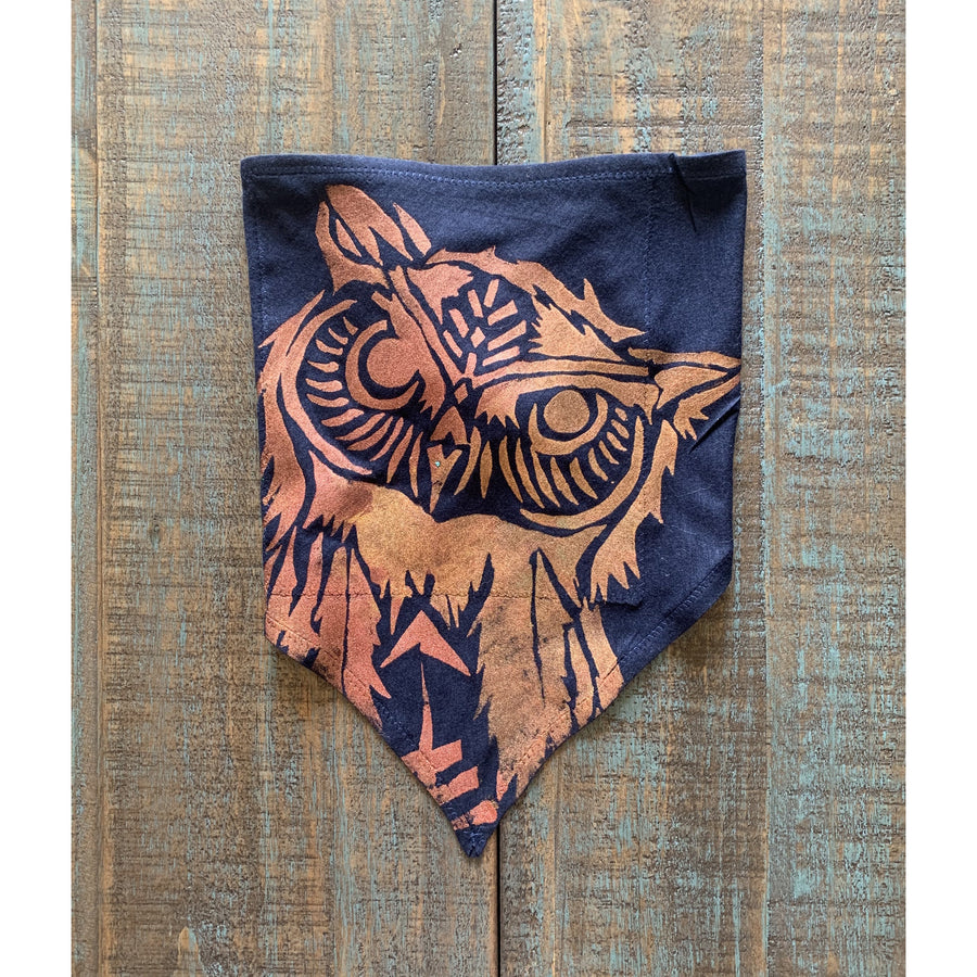 Owl Hand Painted Bamboo Bandana w/ Liner