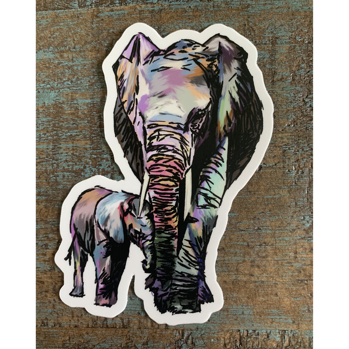 Mama Elephant Sticker 4x4in