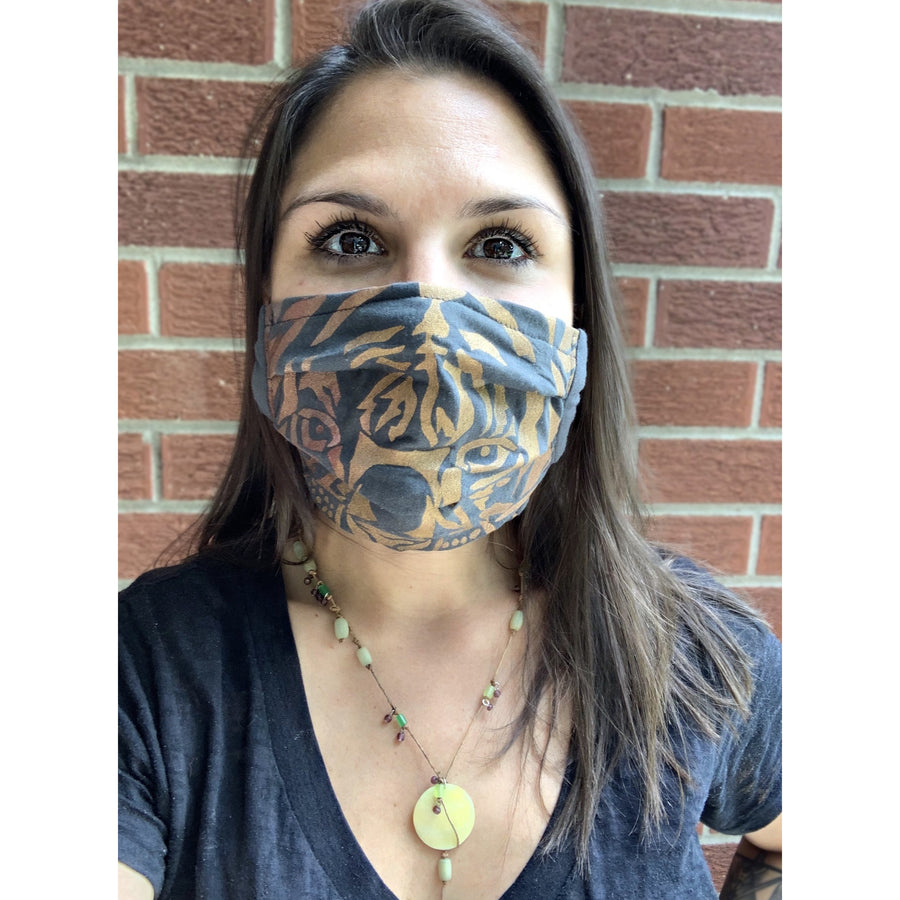 Tiger Hand Painted Bamboo Face Mask w/ Liner