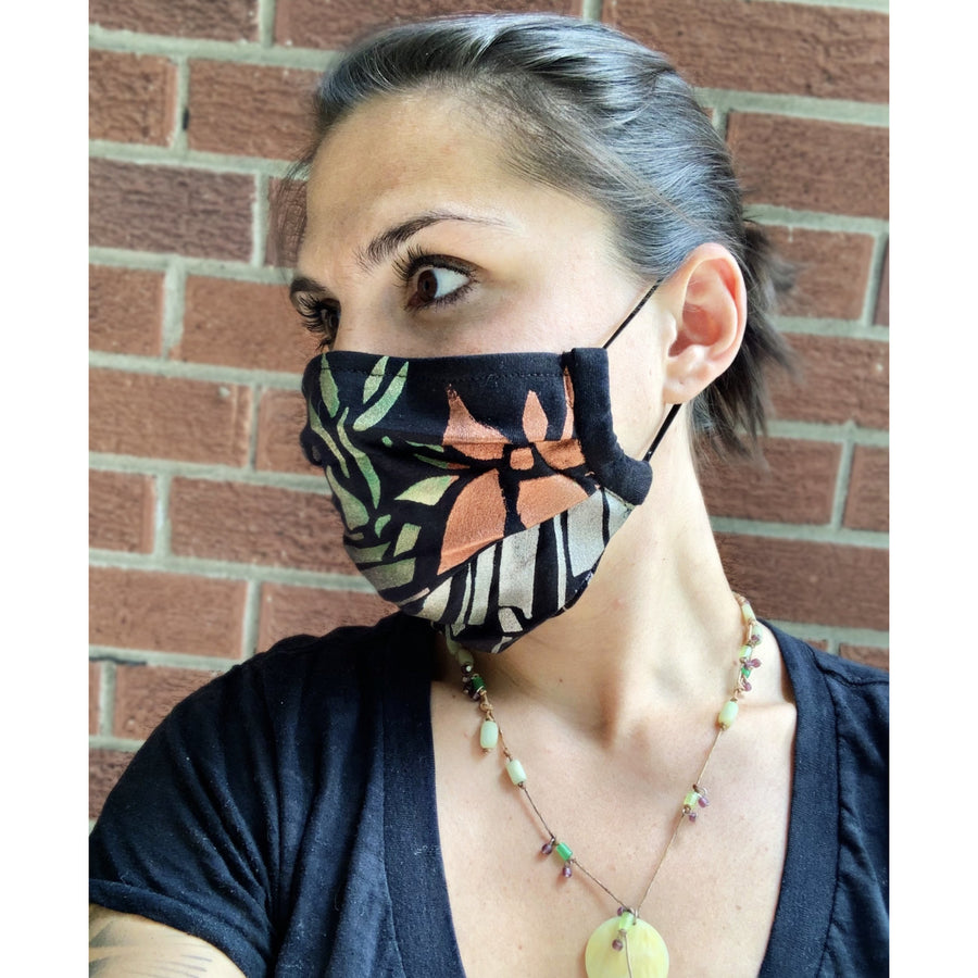 Plant Keyboard Hand Painted Bamboo Face Mask w/ Liner