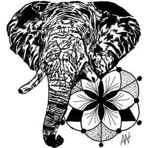 Sacred Elephant Sticker 4x4in