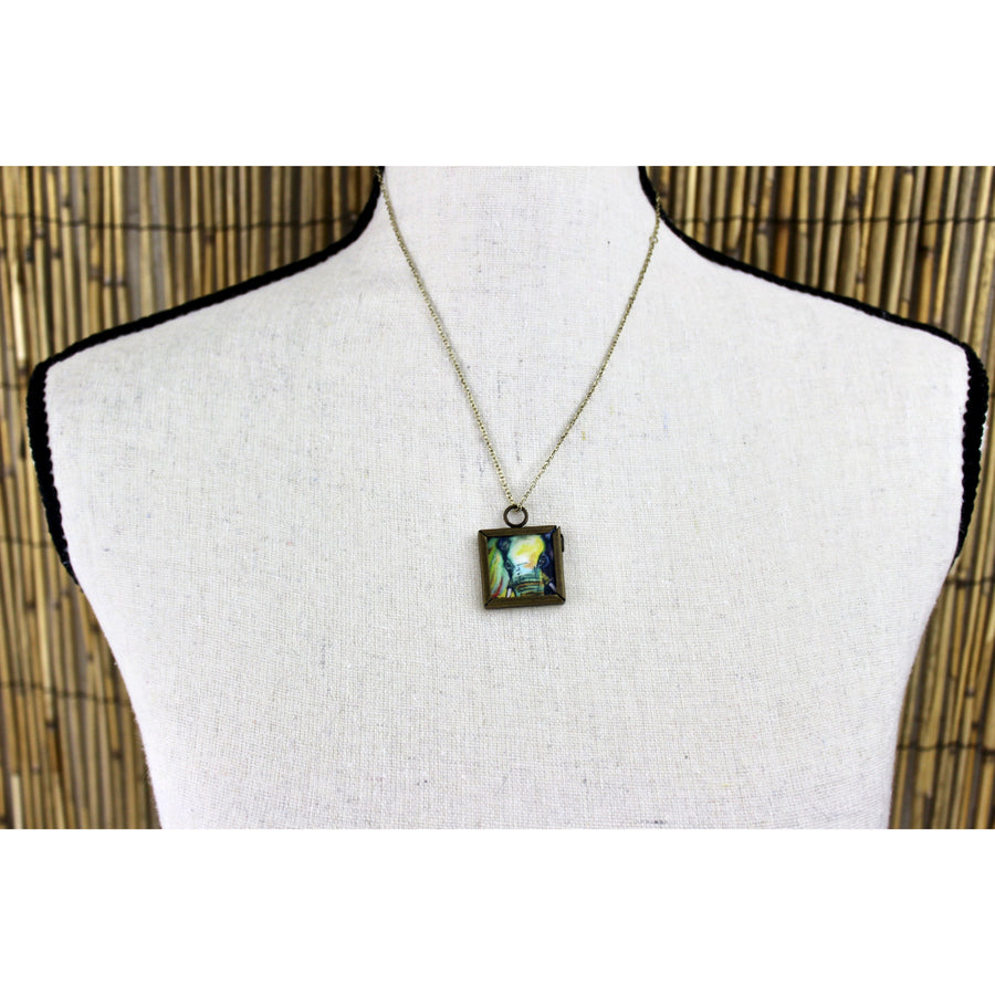 Elephant Print Square Necklace - Double Sided